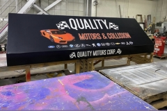 Awning being constructed for Quality Motors & Collision