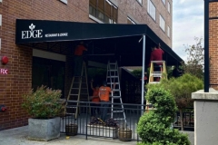 Installing canopy in Bethlehem, PA, for Edge Restaurant