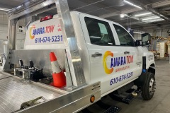 Close up of Amara Tow car wrap in Lehighton