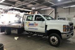 Amara Tow white truck with car wrap in Lehighton