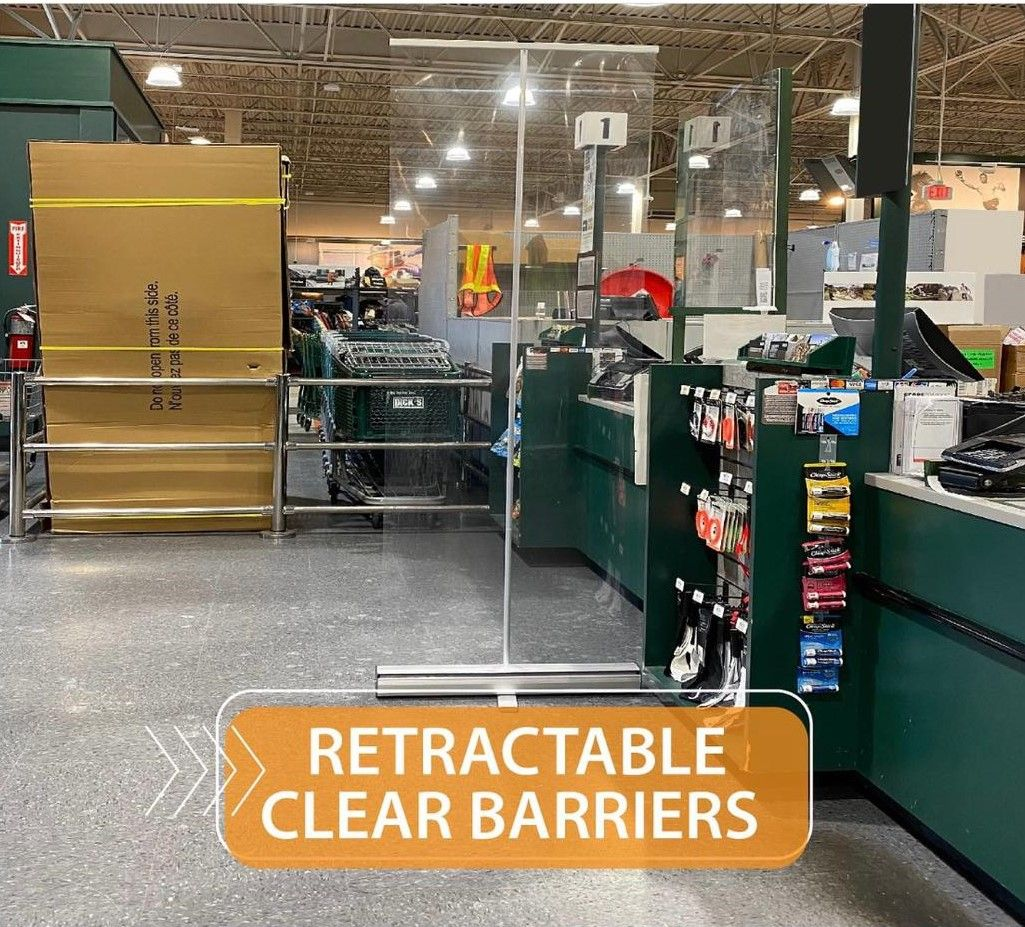 Retractable clear barriers
