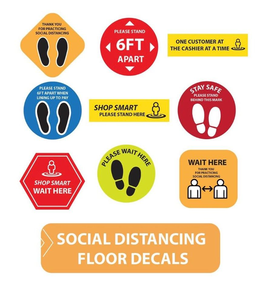 social distancing signage and floor decals