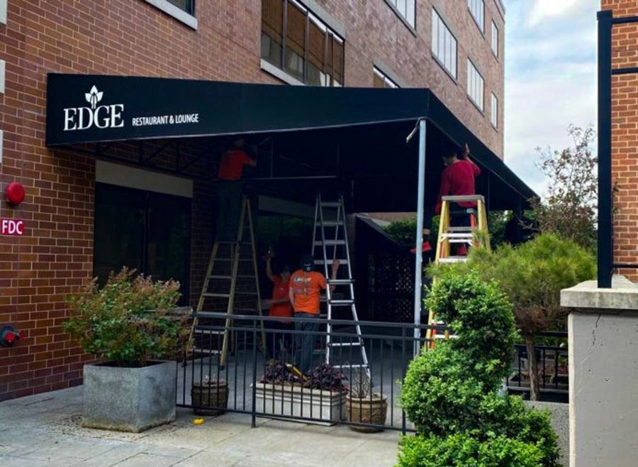 Awnings in Allentown for a restaurant called Edge