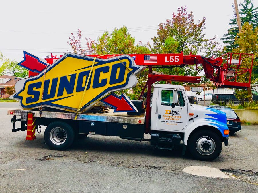 Monument sign in Allentown for Sunoco on the sign installation truck