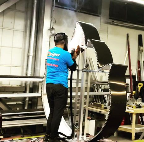 Custom Signs in Stroudsburg, PA being welded together